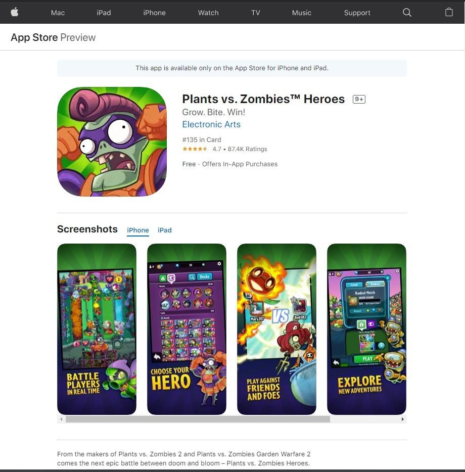 《植物大战僵尸英雄》 iOS系统下载